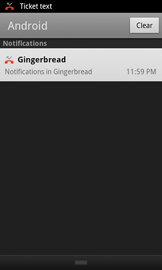 Notifications in Gingerbread 2.3