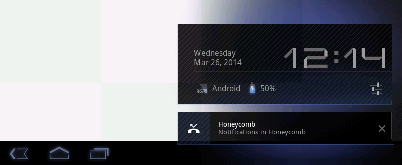 Honeycomb notifications tapping clock