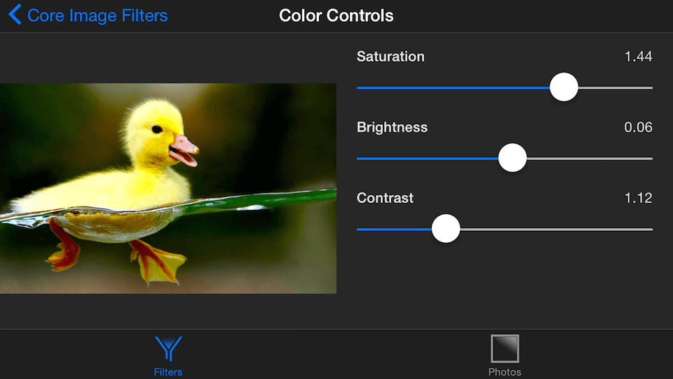 Image being tweaked with the Color Controls filter
