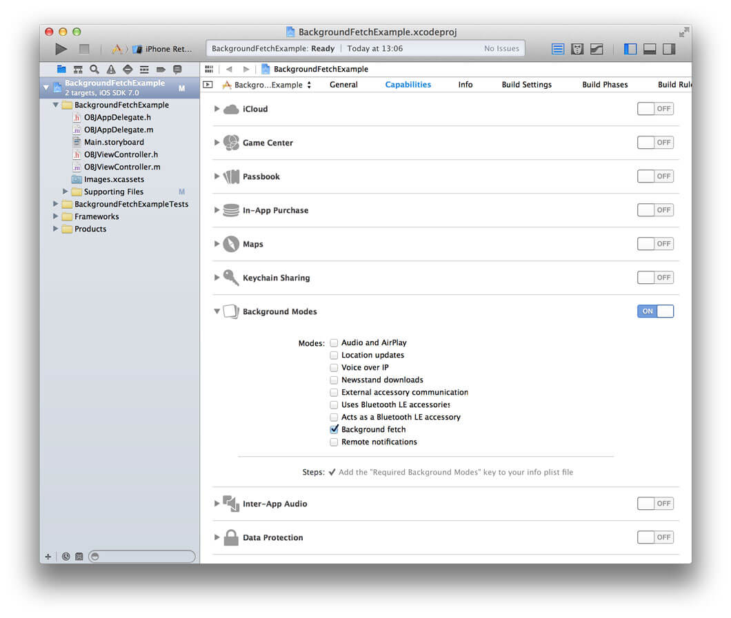 A screenshot showing Xcode 5's new Capabilities tab