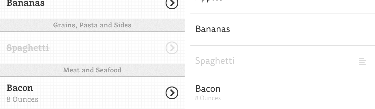 Comparison of the Grocery List and Grocery List 2 fonts