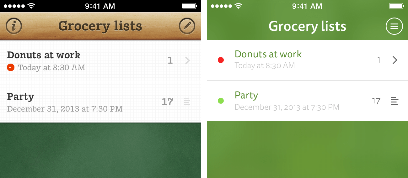 Comparison of the Grocery List and Grocery List 2 interface